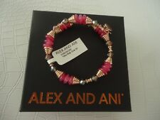 Alex and Ani CORAL HAVEN WRAP Bangle Bracelet Shiny Rose New W/Tag Card & Box