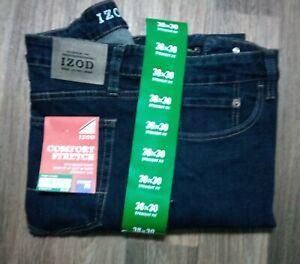 NWT Men's Izod 38 X 30 Soft Touch Comfort Stretch Dark Blue Jeans Slim Straight