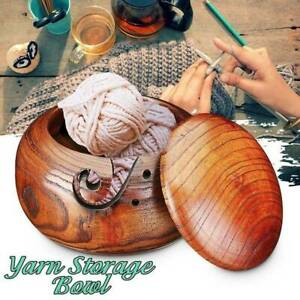 Wooden Yarn Bowl Holder Skeins Knitting Crochet Thread Storage Box w/ Lid