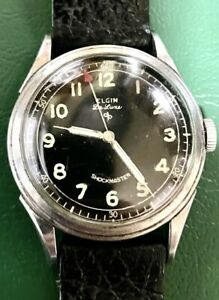 Vintage Elgin Deluxe Shockmaster Military Style Dial Watch Silver