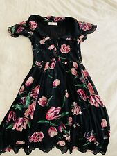 ALANNAH HILL WOMENS DRESS FLORAL PRINT LINED ZIP  SILK MADE IN AU SZ 8