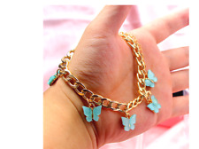 NEW BOHO CHUNKY BUTTERFLY BRACELET OFF WHITE PINK TURQUOISE UK SELLER