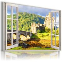 "ENGLAND, CASTLE 3D Window View Canvas Wall Art Picture Large SIZE 30X20"" W466"