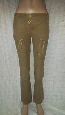 Gaetano Navarra brown green khaki tan ridder velvet trousers size 8-10 UK