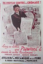 WW2 Kopie Plakat Krieg 1939 - 1945 Arbeitslosigkeit! Atelier Mechanics der Seine