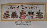 Christmas Owls Counted Cross Stitch Kit Joy Sunday K991 14ct New 5988 48x18cm