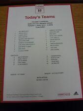 01/04/2014 Fulham U21 V Liverpool U21 (Feuillet Unique). Merci de consulter NOS