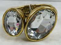 """J58 Chunky Statement Clamper Hinge Cuff Bracelet Crystal Texture Gold Tone 7.5"""""""
