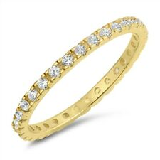 Band Ring Sterling Silver 925 Yellow Gold Plated Clear CZ Width 2 mm Size 4
