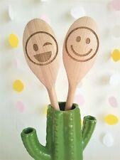 Emoji Design Personalised Engraved Wooden Spoon Emoticon Happy Wink