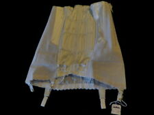 Vintage 60's Girdle Open Bottom Side Zip White Satin front 6 Garters Unworn M12h