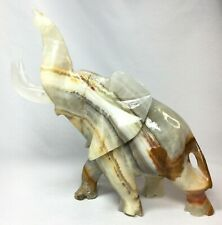 Solid Onyx Stone Gemstone ELEPHANT with Tusks Sculpture, Forbidden Caverns