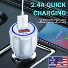 White Car Charger Dual USB Wireless Fast 2A Ports Socket Adapter Fits Phones