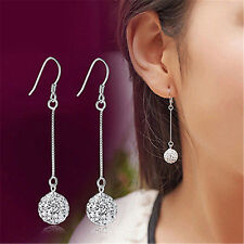 Elegant Womens Silver Crystal Ball Long Hook Ear Stud Drop Dangle Earrings Gift