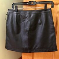 'JOIE'-BLACK LEATHER SKIRT Side Zip/Front Slant Pockets CLASSIC & CHIC! NWOT!