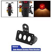 Side Mount Motorcycle LED Rear Light Bracket , Number Plate & Brake For Harley
