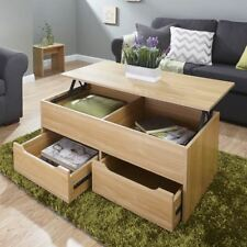 ULTIMATE STORAGE LIFT UP COFFEE TABLE SPLIT LEVEL TOP TABLE LARGE SPACE OAK