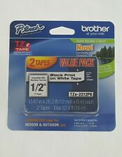 2 Pack P touch TZe Tape Black Print Brother Laminated Tape 52.4 Feet