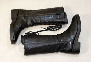 ANN DEMEULEMEESTER black leather lace up square toe combat boots 38-39 us8.5 uk6