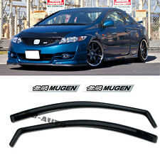 For 06-11 Honda Civic In-Channel Side SI Window Visor 2Dr Coupe + Mugen Emblems