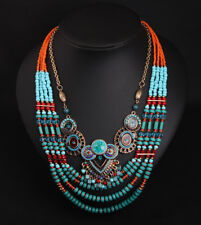 Vintage Ethnic Tribal Seed Beads Necklace Boho Pendant Statement Women Jewelry