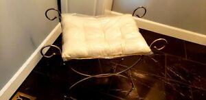 Vintage MCM Hollywood Regency Scroll Metal Vanity Bench Stool with Pillow.