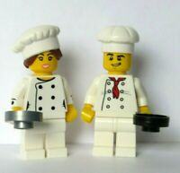 Lego 2 Chef Cook Baker Minifigure Man Boy Girl Female  Frying Pan