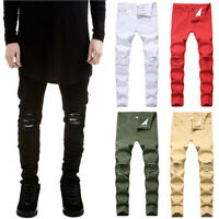 Mens Stretch Ripped Denim Jeans Pants Skinny Casual Slim Fit Distressed Trousers
