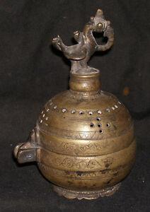 Antique Traditional Indian Original Mughal Incense Burner Bronze #1