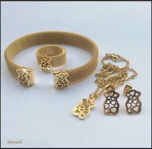 Set Of Necklace, Earrings, Bracelet And Ring Of Stainless Steel