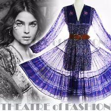 VINTAGE INDIAN DRESS PHOOL 70s 8 10 12 14 60s HIPPY BOHO GAUZE WEDDING GODDESS