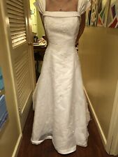 Beautiful White Wedding Dress - With Or Without Straps, Beaded, Zips Up, W/train