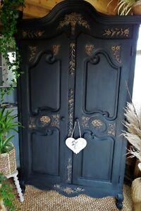 Black carved solid wood Armoire, cabinet, dresser, wardrobe.