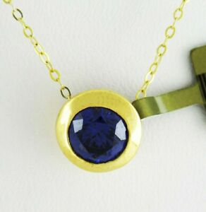 AAA 1.58 Cts TANZANITE SLIDE NECKLACE 10k YELLOW GOLD ** Free Shipping **