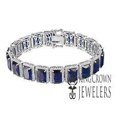 797e9927c8e0 14k Blanco Oro sobre Plata de Ley Zafiro Azul Pulsera Laboratorio Diamantes