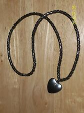 "NEW HEMATITE HEART HEALING STONE NECKLACE CLUSTER LENGTH 18"" NON MAGNETIC BLACK"