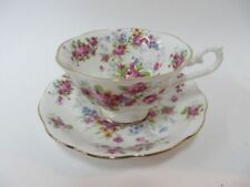 Royal Albert Chintz Style Pink Wide Mouth Teacup & Saucer