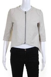 My Tribe Womens Front Zip Half Sleeve Crew Neck Leather Jacket Beige Size XS