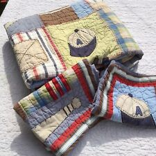 Sports Themed Full Queen Quilt Comforter 2 Pillow Shams Pottery Barn Kids