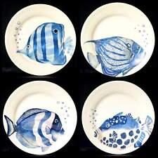 PIER 1 IMPORTS TROPICAL BEACH COASTAL NAUTICAL BLUE FISH SALAD PLATE NEW SET 4