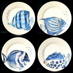 PIER 1 IMPORTS TROPICAL BEACH COASTAL NAUTICAL BLUE FISH SALAD PLATE NEW SET 4