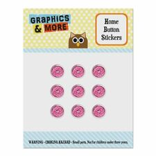 Cute Chocolate Valentine Donut Pink Hearts Home Button Stickers Fit Apple iPhone
