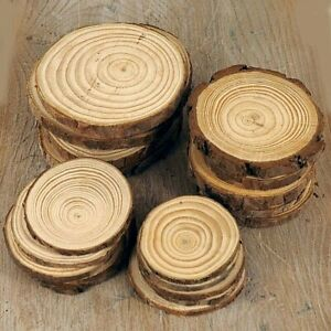 Natural Wood Log Slices Christmas Name Tags Decorations 6-15 cm, Wooden Crafts