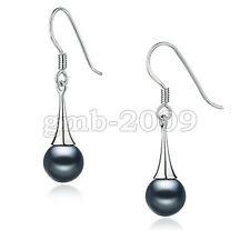10mm Genuine Tahitian Black South Sea Shell Pearl Silver Hook Earrings