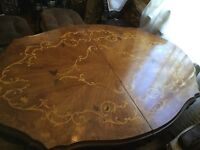 Midcentury American Victorian St Solid Carved Inlaid Wood Dining room Table