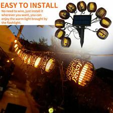 10Led Solar String Lights Outdoor Waterproof Flickering Flame Hanging Lantern Us