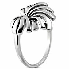 Stainless Steel 2 Tone Coconut Tree Leaf Medallion Ring Size 12 US X AU