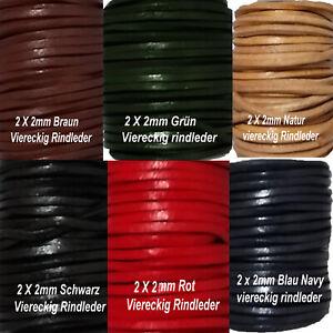 Lederband Lederriemen flach ab1Meter ,2mm - 5mm,Vierkant Echtes leder,Vollleder