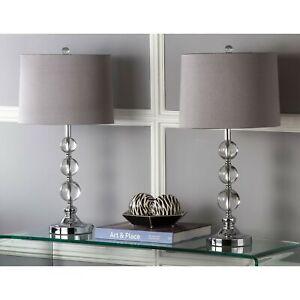 Set 2 Chrome Crystal Ball Table Lamp Pair Gray Grey Shade Desk Decor 27 inch H