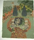 Finely worked antique needle work of garden for framing